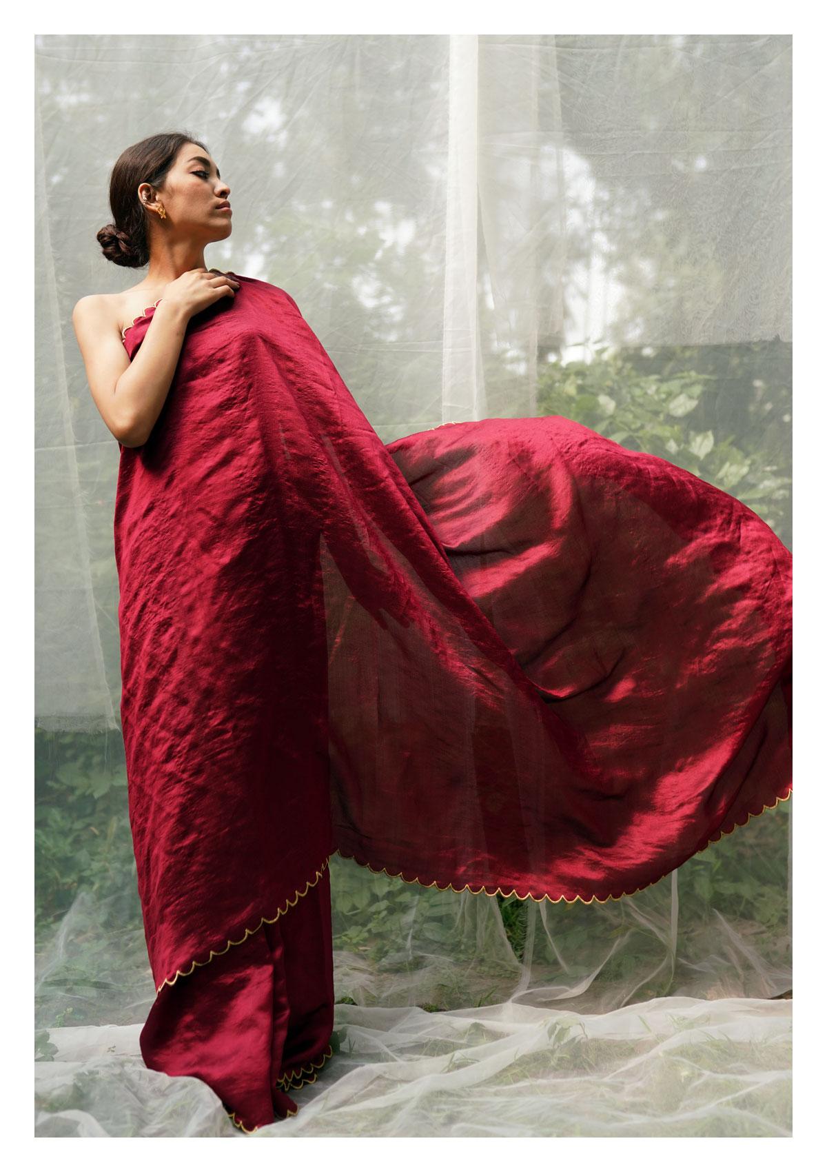 Sadabahar Red Mulberry Silk Saree