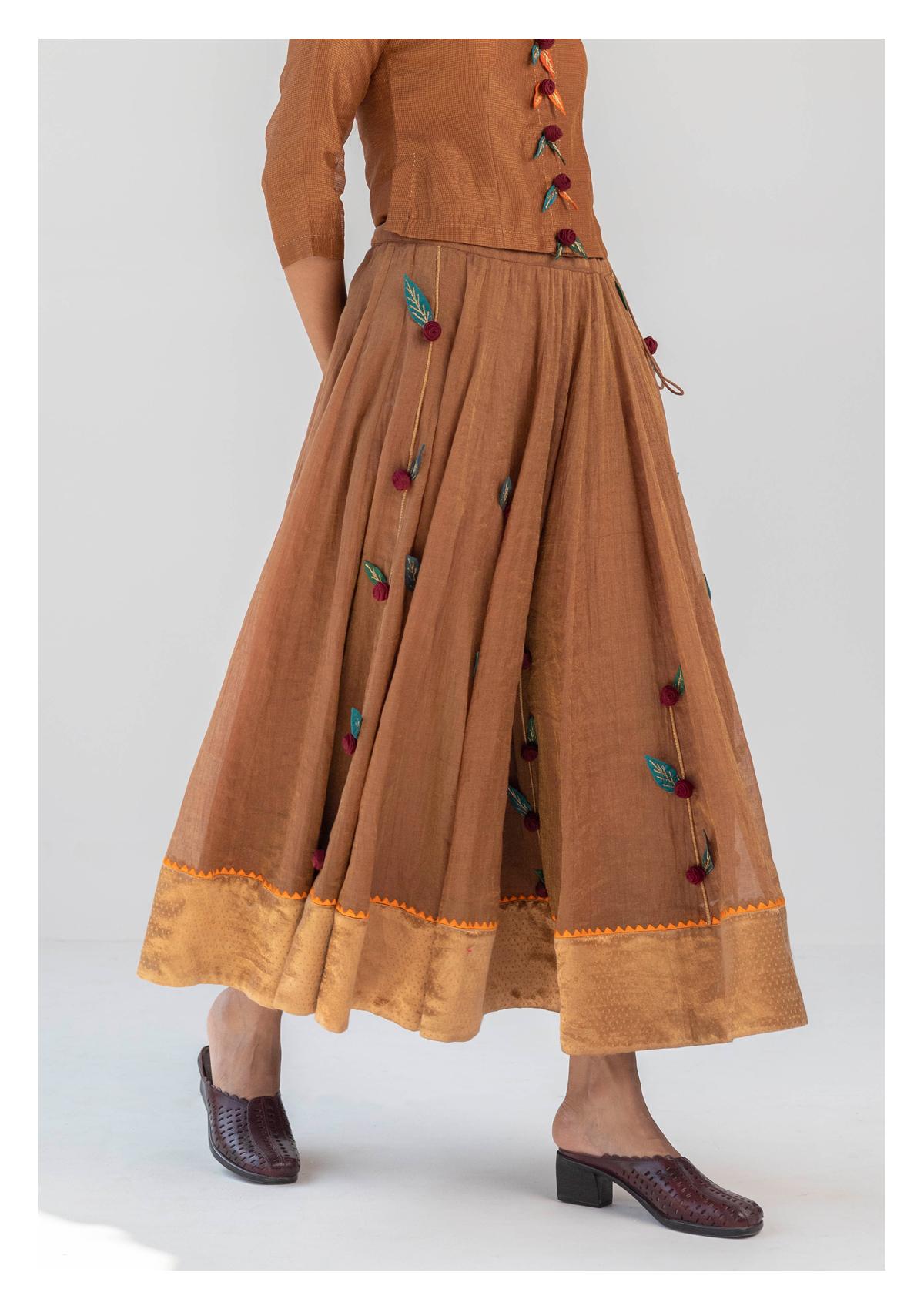 Sahara Brown Tissue Applique Skirt