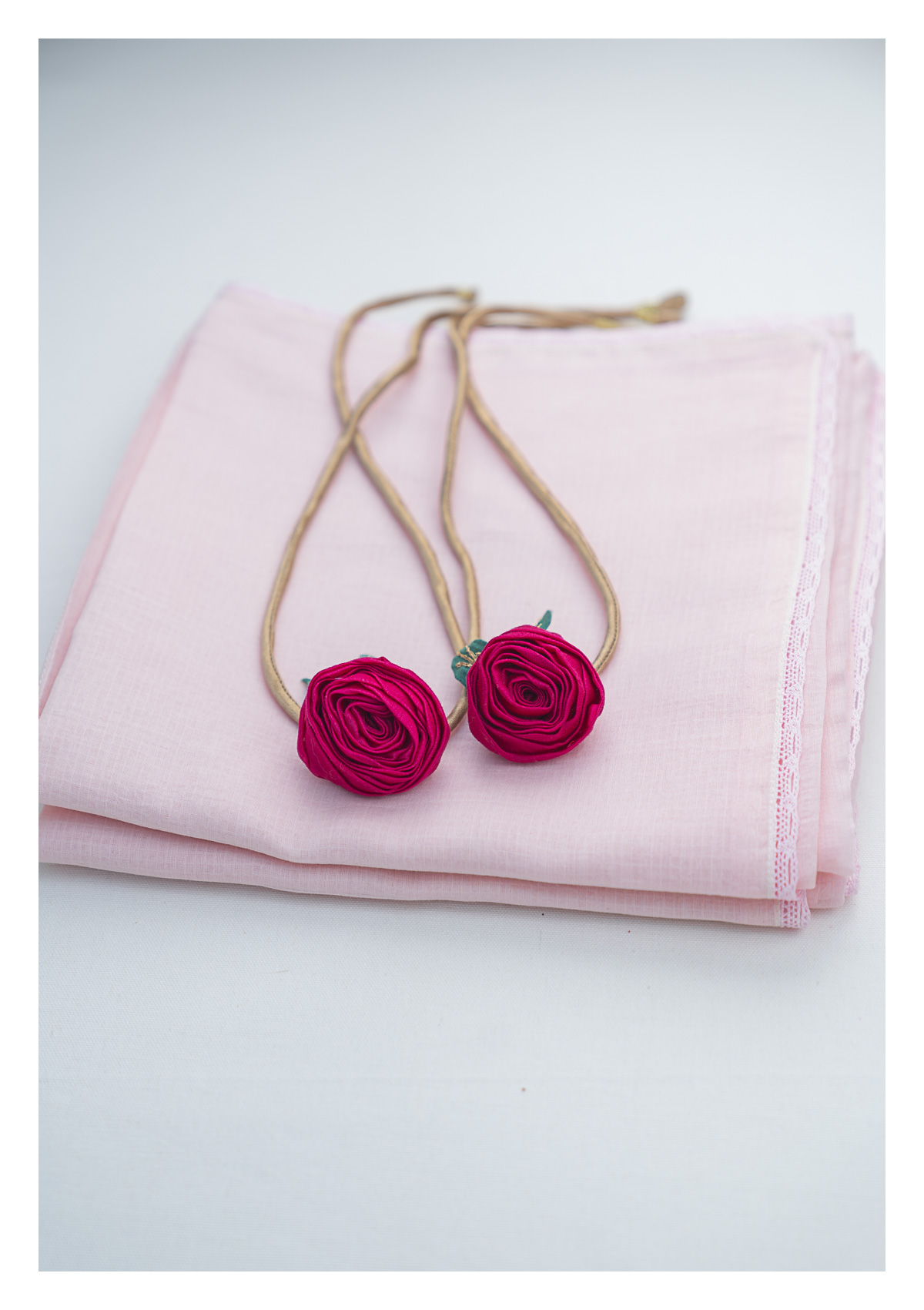 Sakura Pink Chanderi Sheer Curtain- Set of 2
