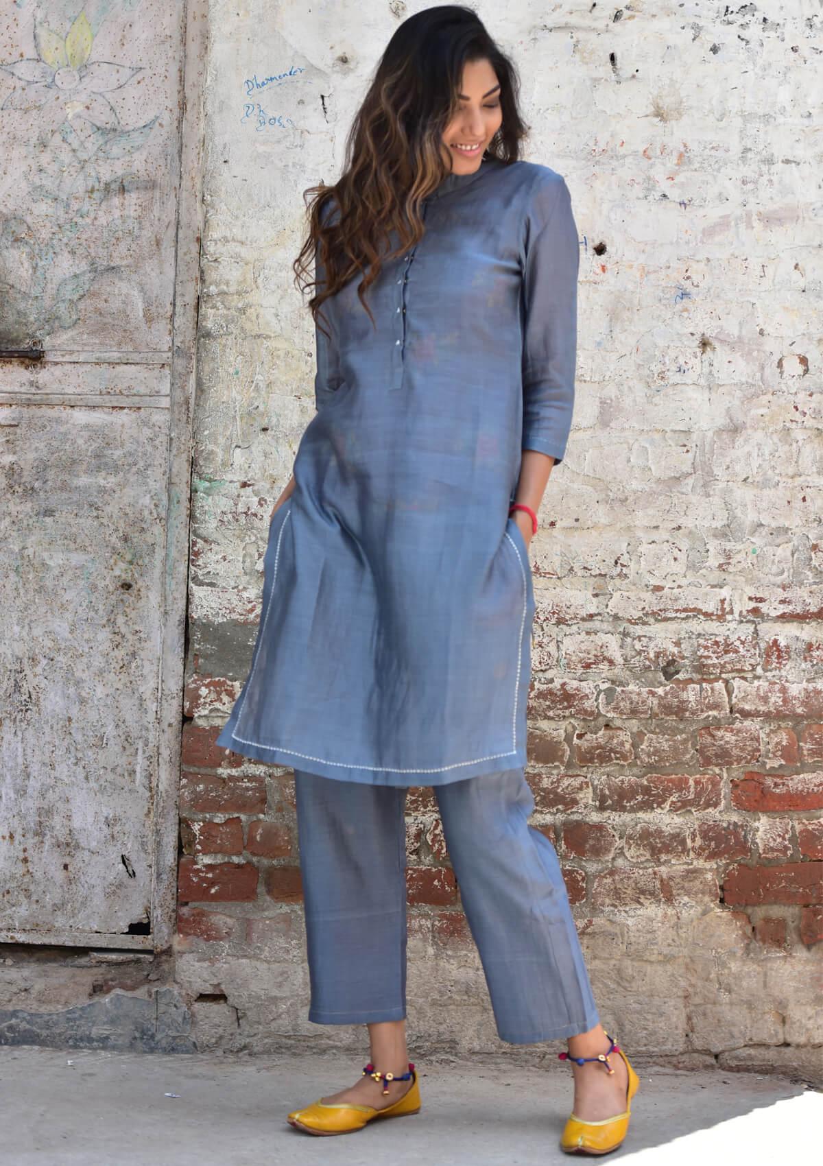 Samia Grey Chanderi Kurta Pajama Set