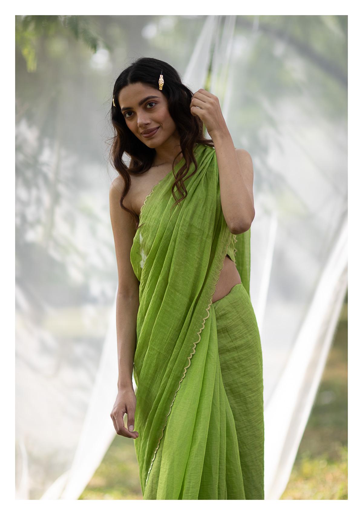 Savan Green Tissue Chanderi Saree