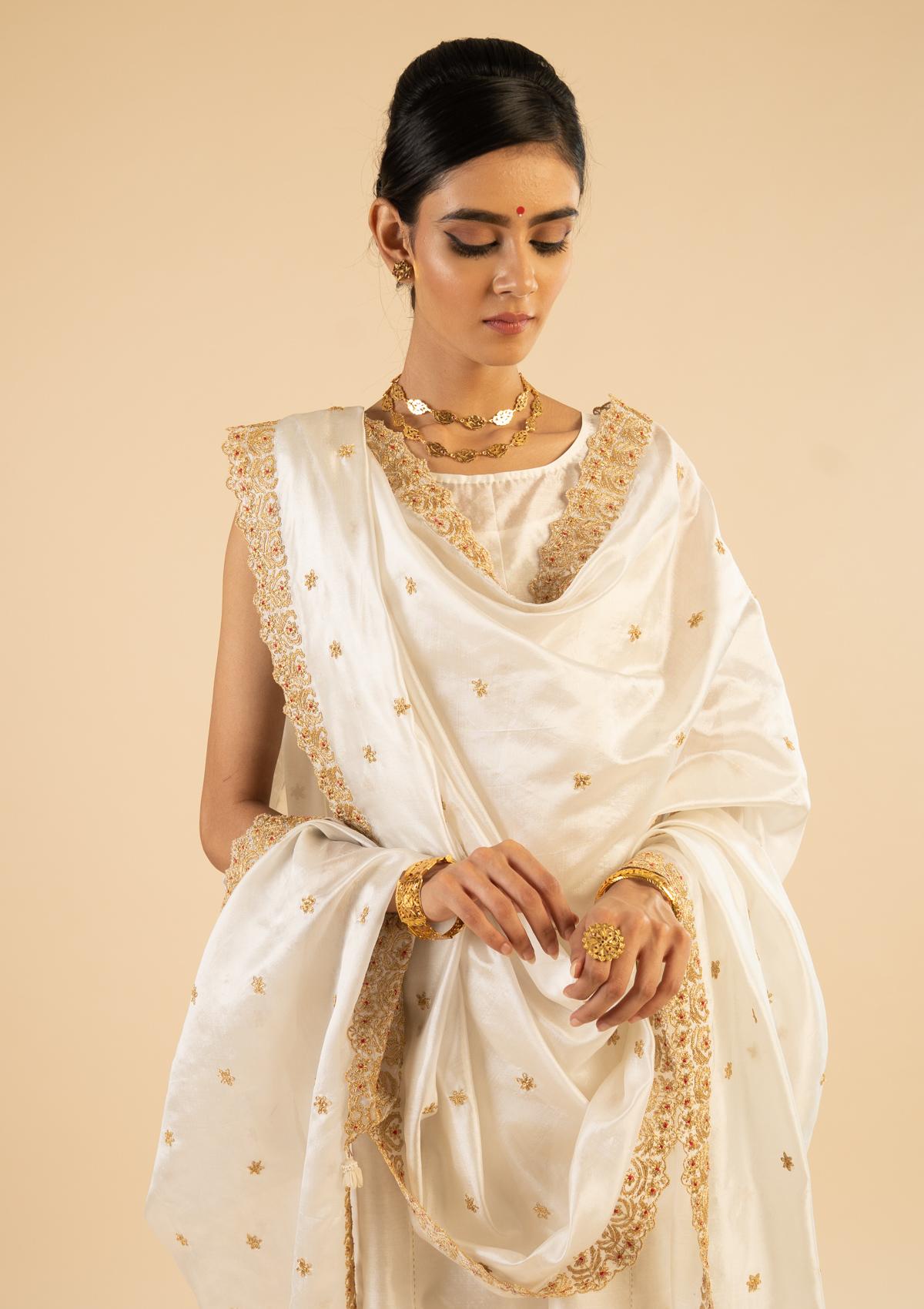 Shakuntala Cream Silk Dupatta