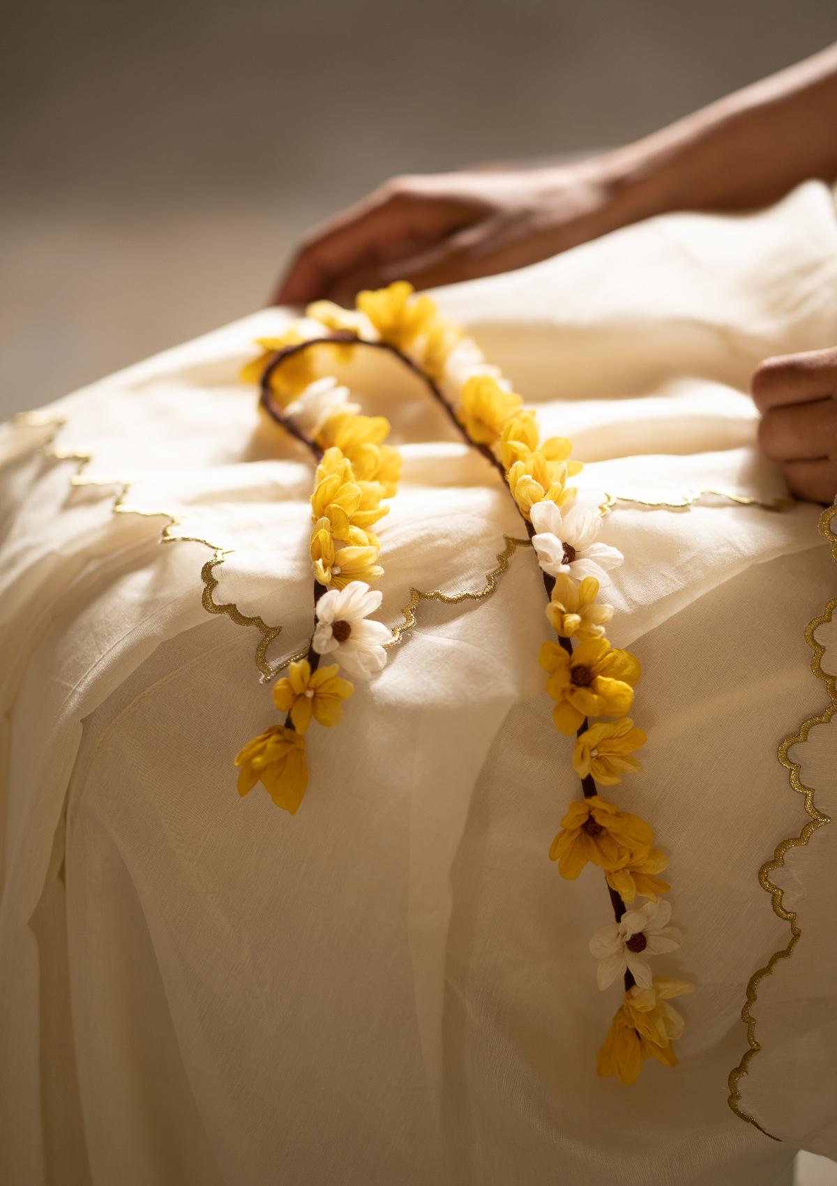 Shehnaai Yellow Flower Hair Accessory