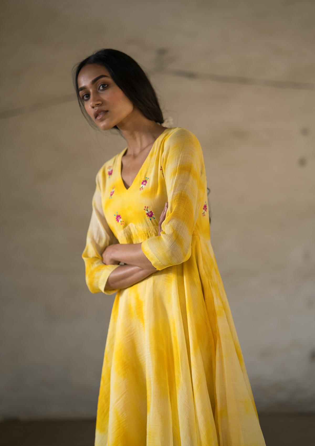 Shor Machati Chanderi Dress