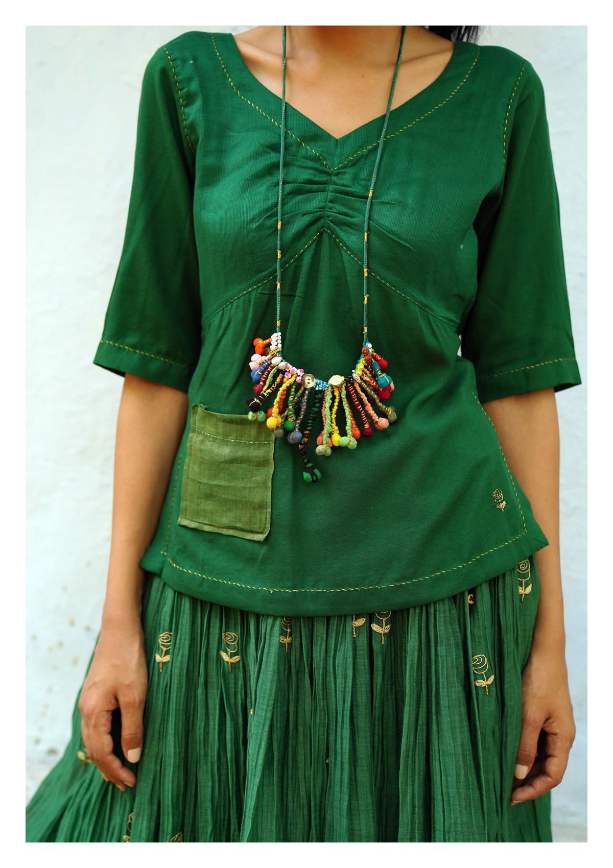 Clever Clover Skirt Blouse Dupatta Set