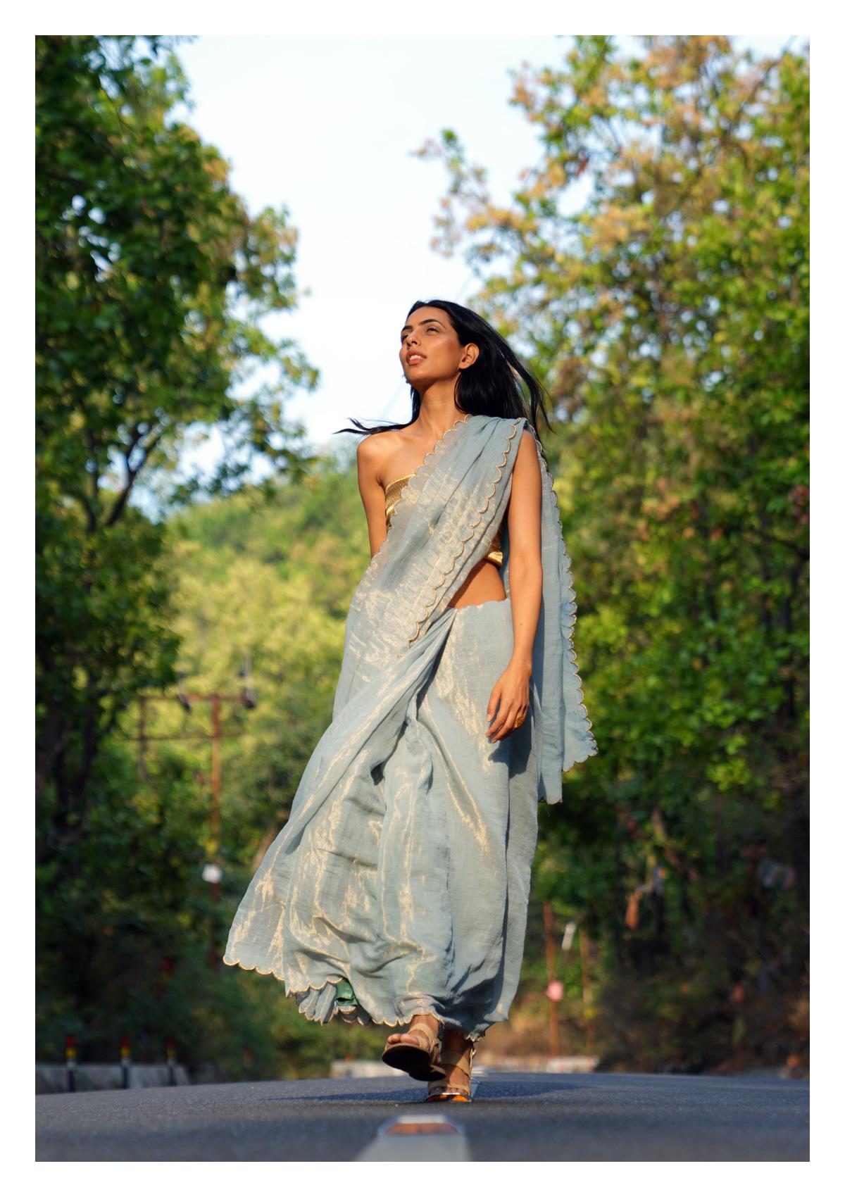 Snowdrop Tissue Chanderi Saree