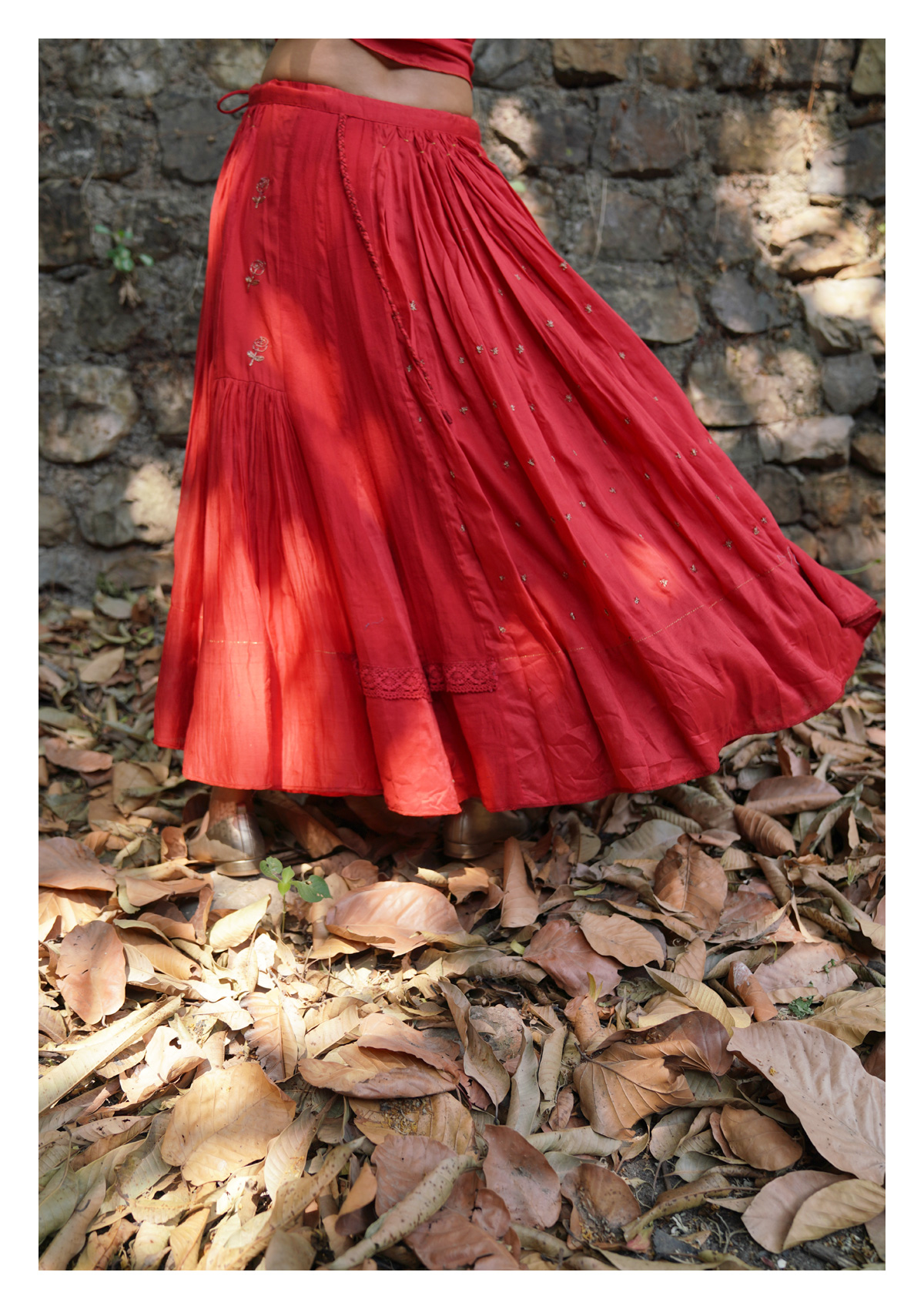 Forest Flame Wrap Top Skirt Set