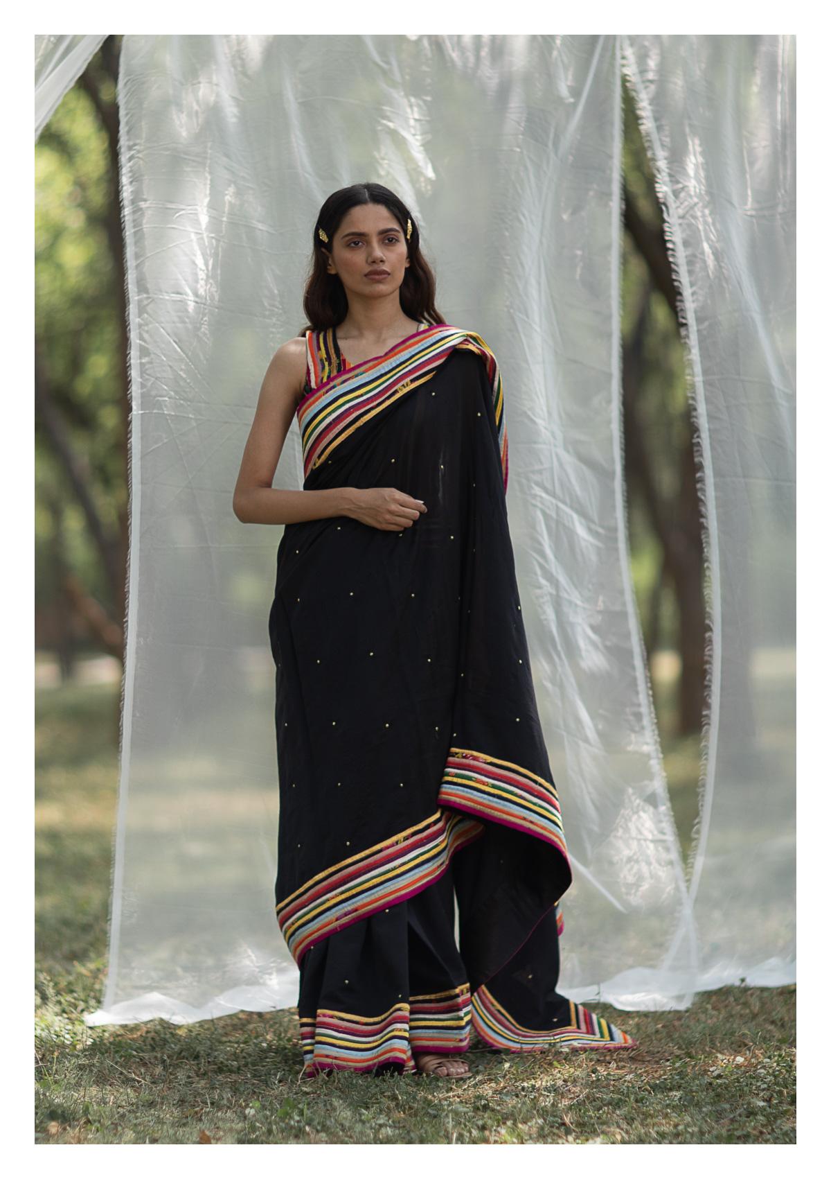 Tami Black Chanderi Saree