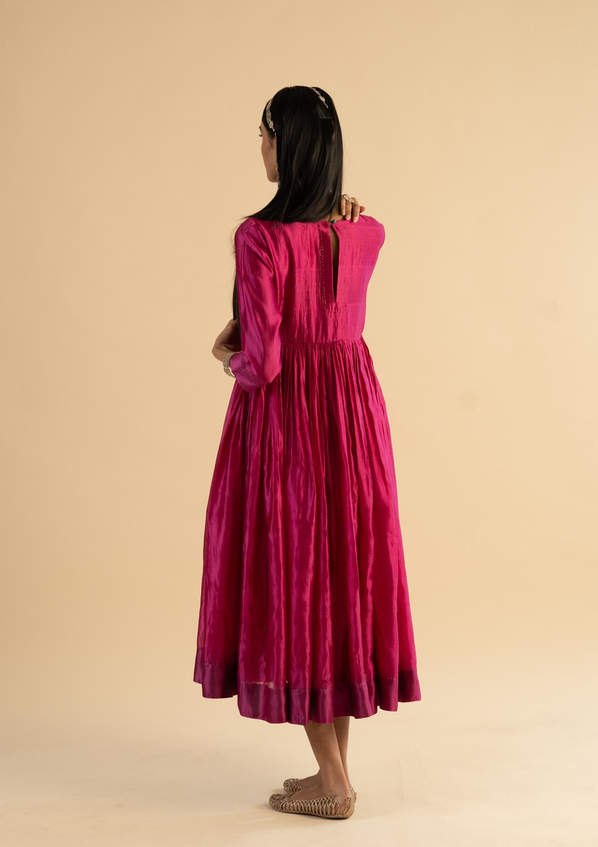 Tanjore Pink Silk Dress