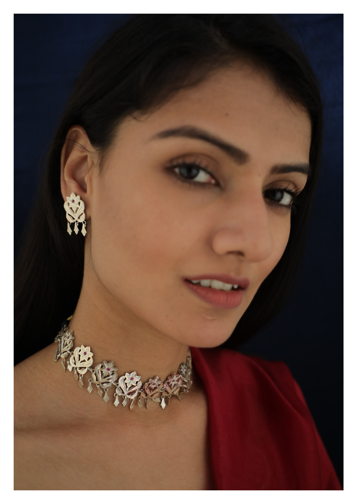 Padma Handmade Silver Necklace And Earrings Set