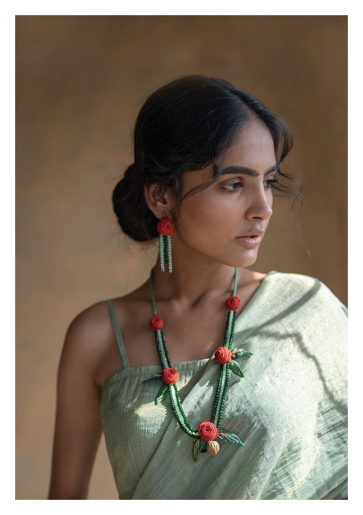 Uvaria Bead Textile Necklace