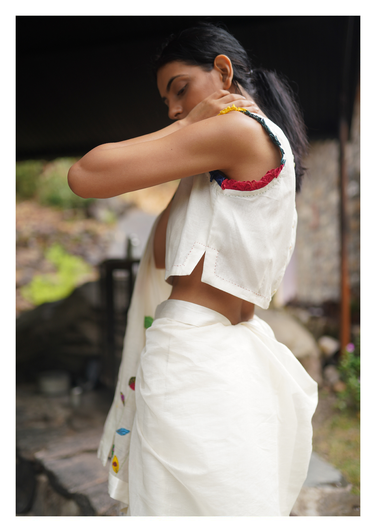 Pearl Chanderi Applique Saree