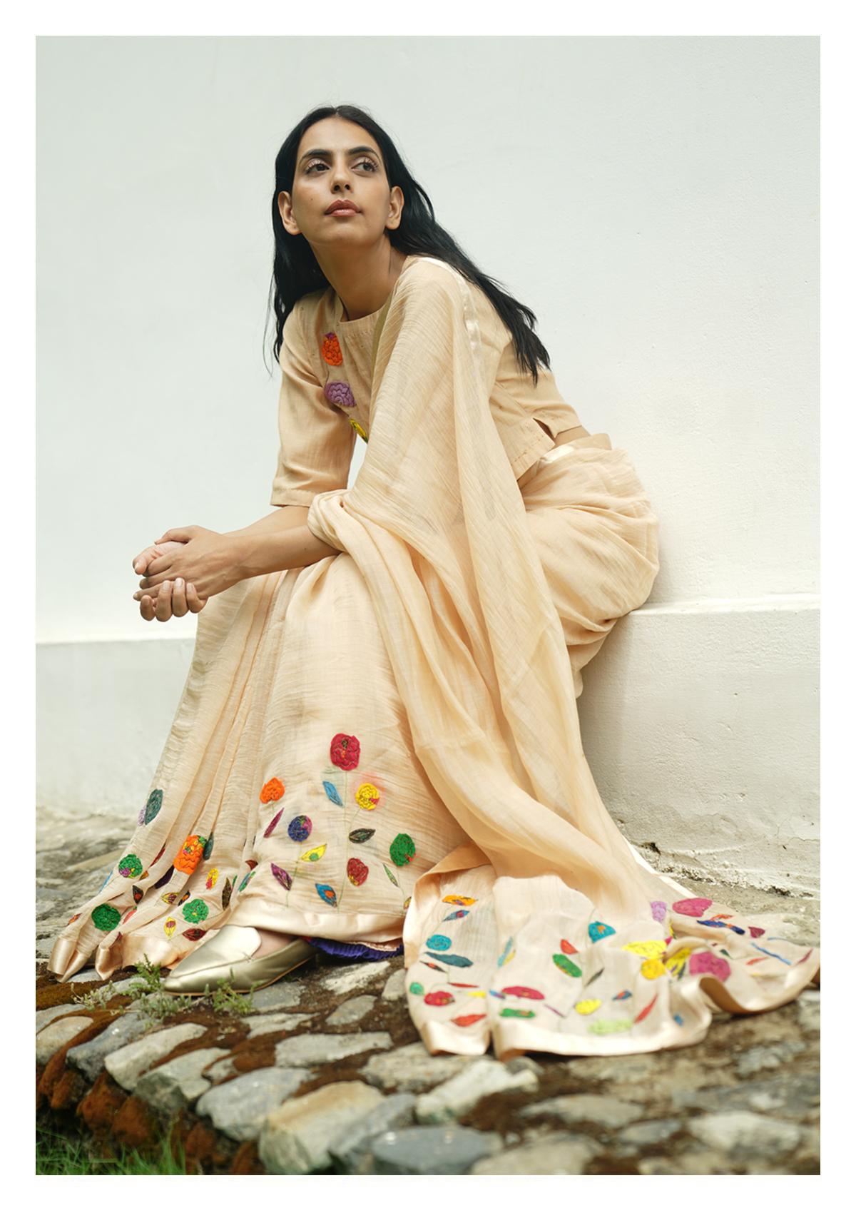 Panna Applique Chanderi Saree