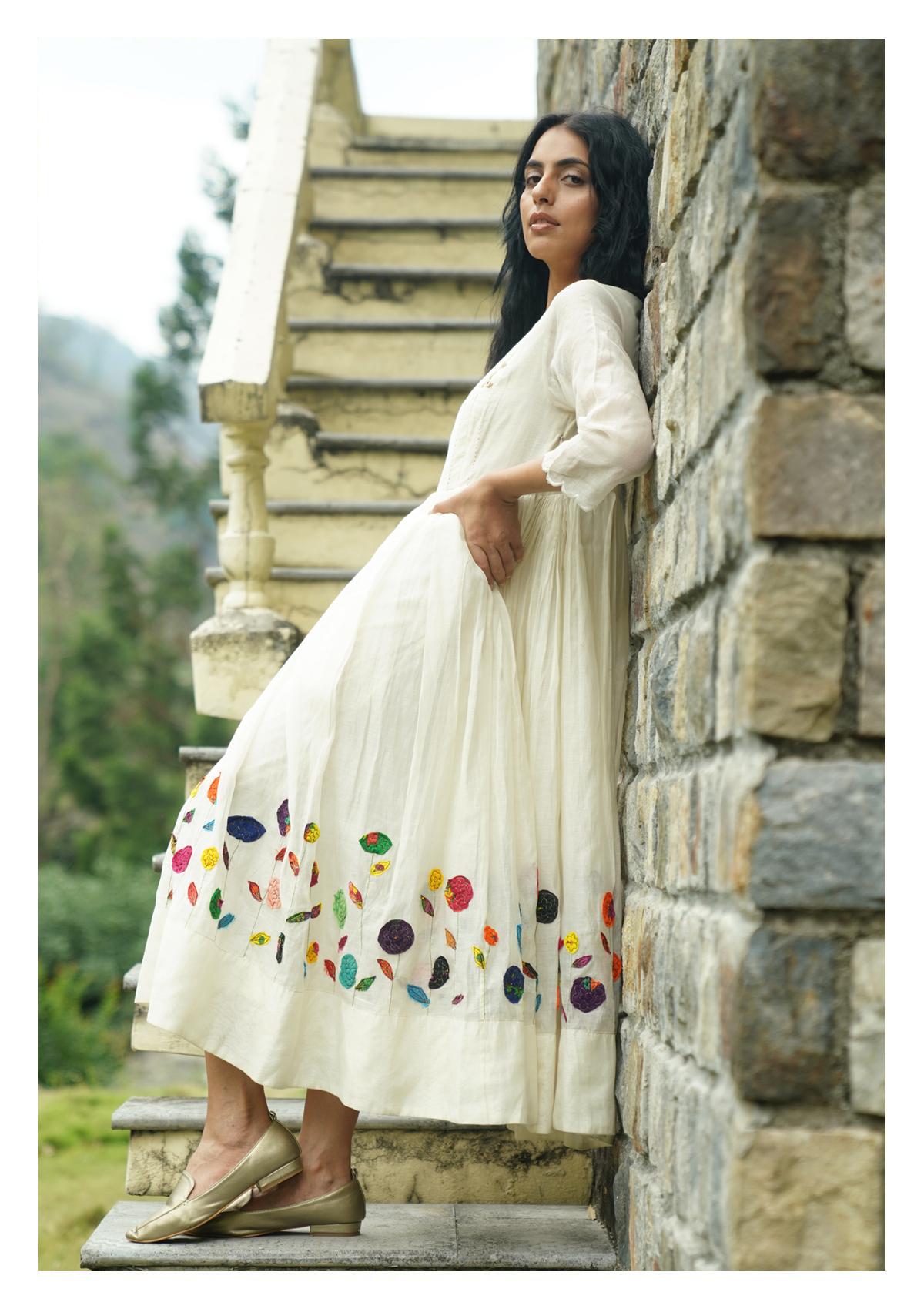 Lawn White Chanderi Dress