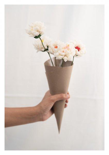 White Handmade Textile Flowers Bunch