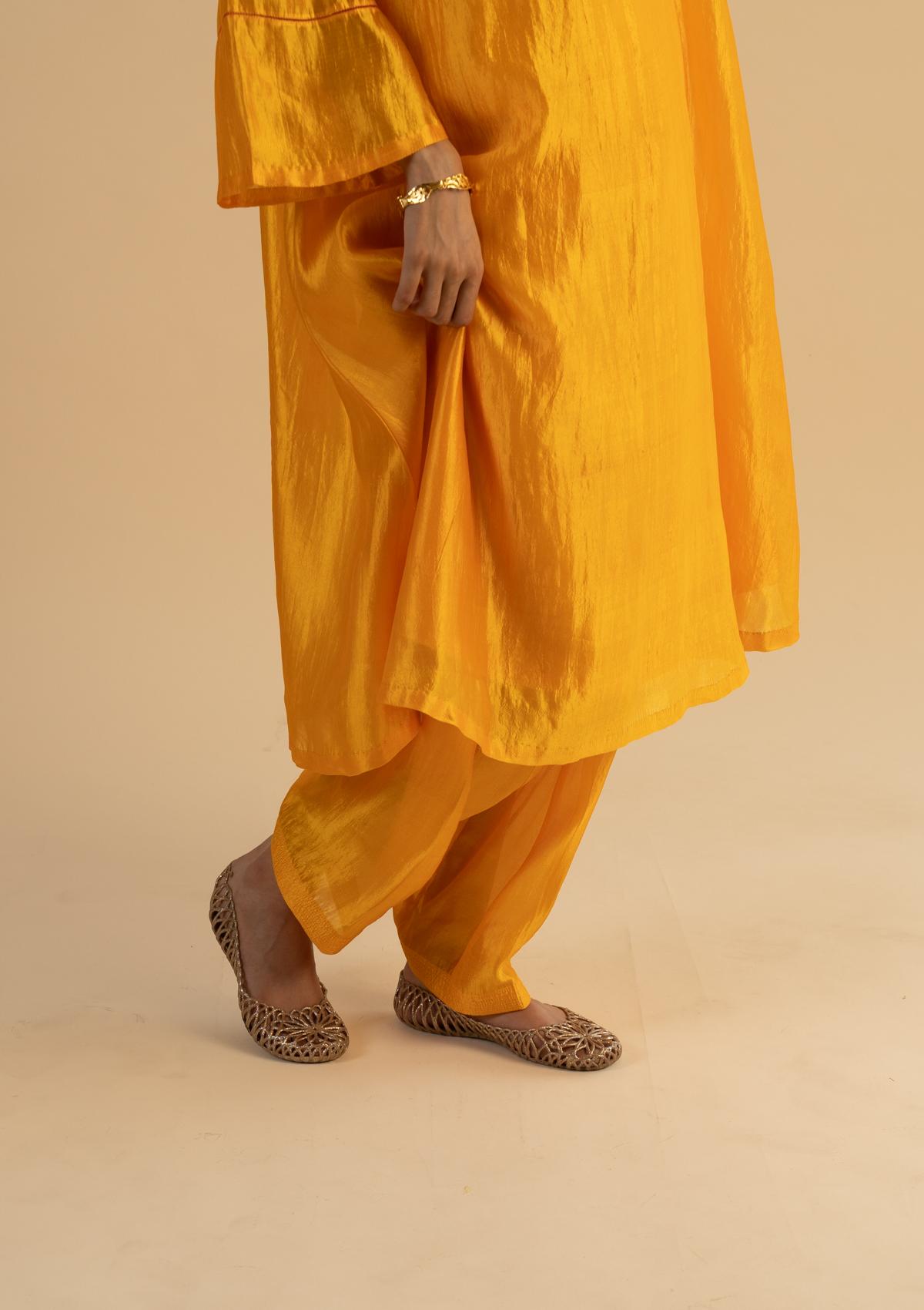 Gond Yellow Silk Kurta Pants Set