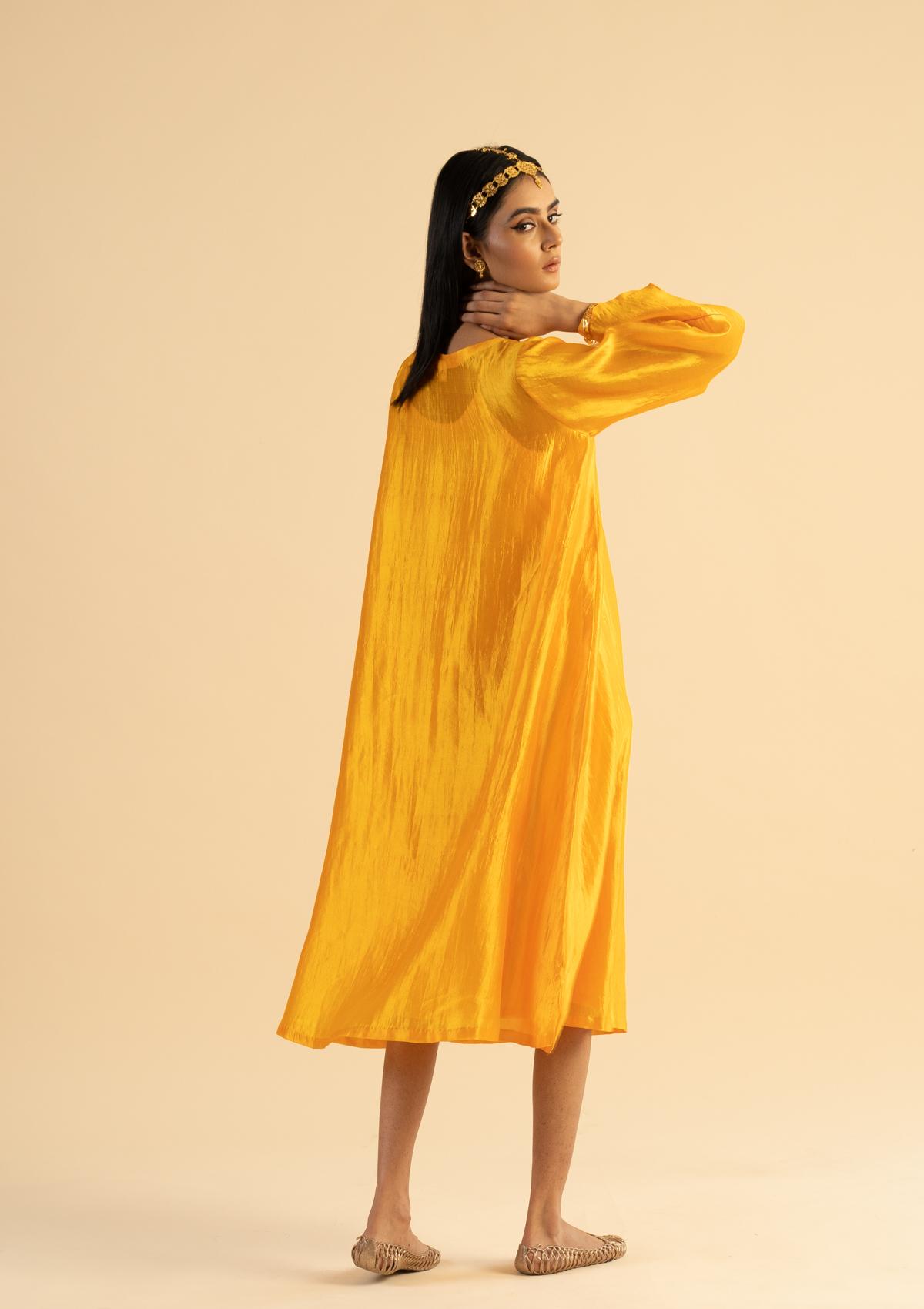 Kala Yellow Silk Dress