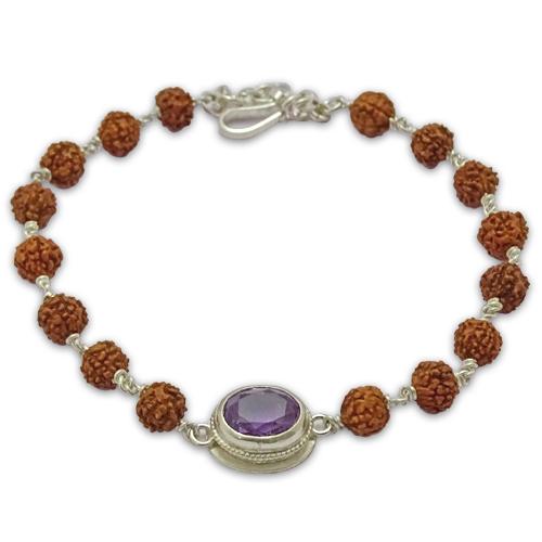 Rudraksha & Gem Bracelet For Capricorn (Makar)