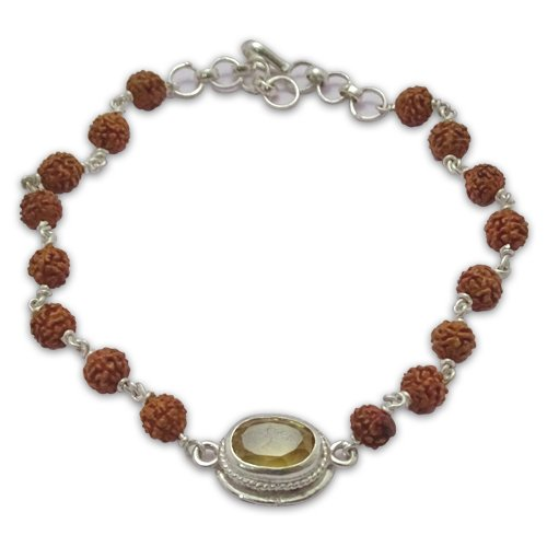 Rudraksha & Gem Bracelet For Sagittarius (Dhanu)