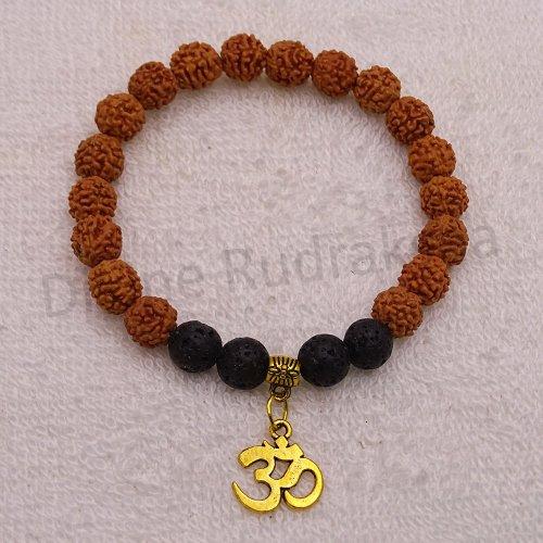 Rudraksha Lava Bracelet with OM Hanging