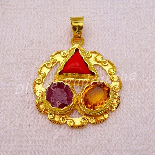 Golden plated Gems Pendant for Sagittarius (Dhanu)