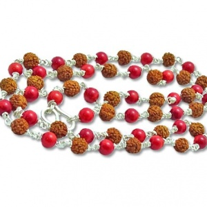 Rudraksha Coral Beads - Gemstone Mala