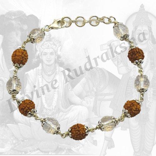 Rudraksha Crystal Bracelet in Silver