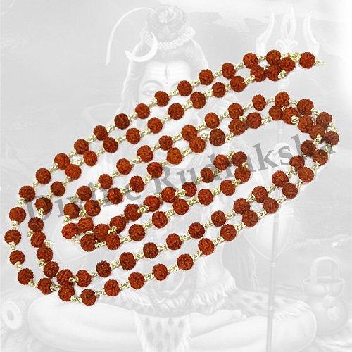 5 Mukhi Rudraksha Mala in Silver (108+1 beads)