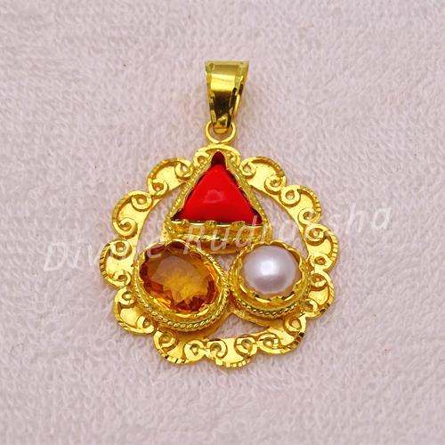 Golden plated Gems pendant for Scorpio (Vrischik)