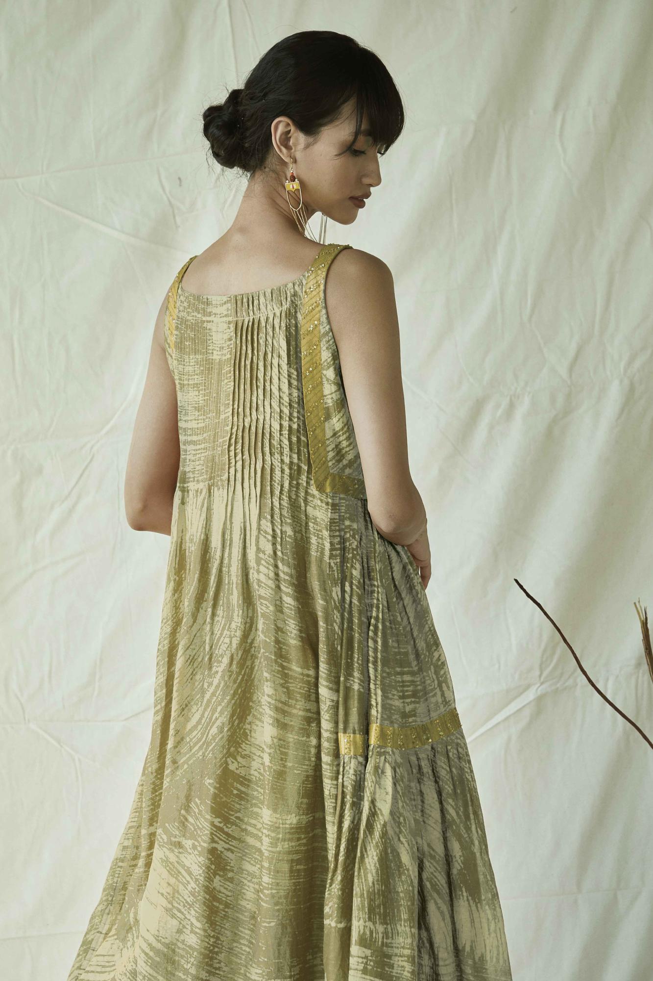 BATIK  MAXI  FLARE DRESS-GREEN