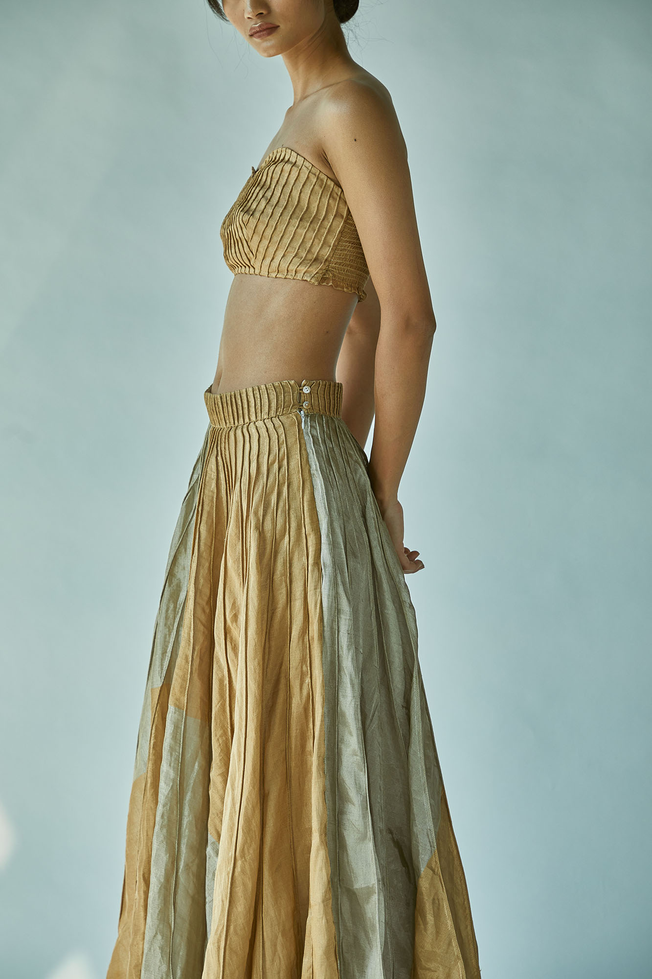 GOLD SILVER MAXI SKIRT WITH BUSTIER