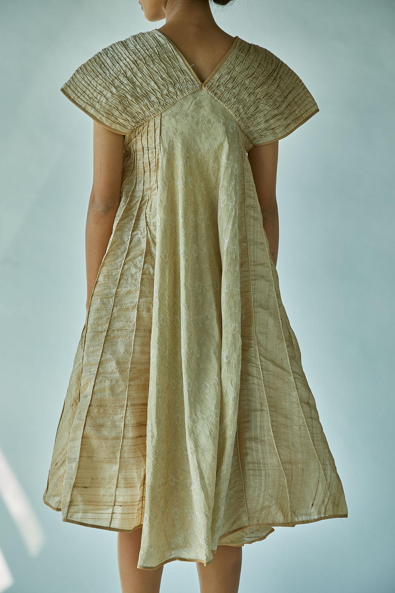 TASSAR SILK BEADED YOKE DRESS