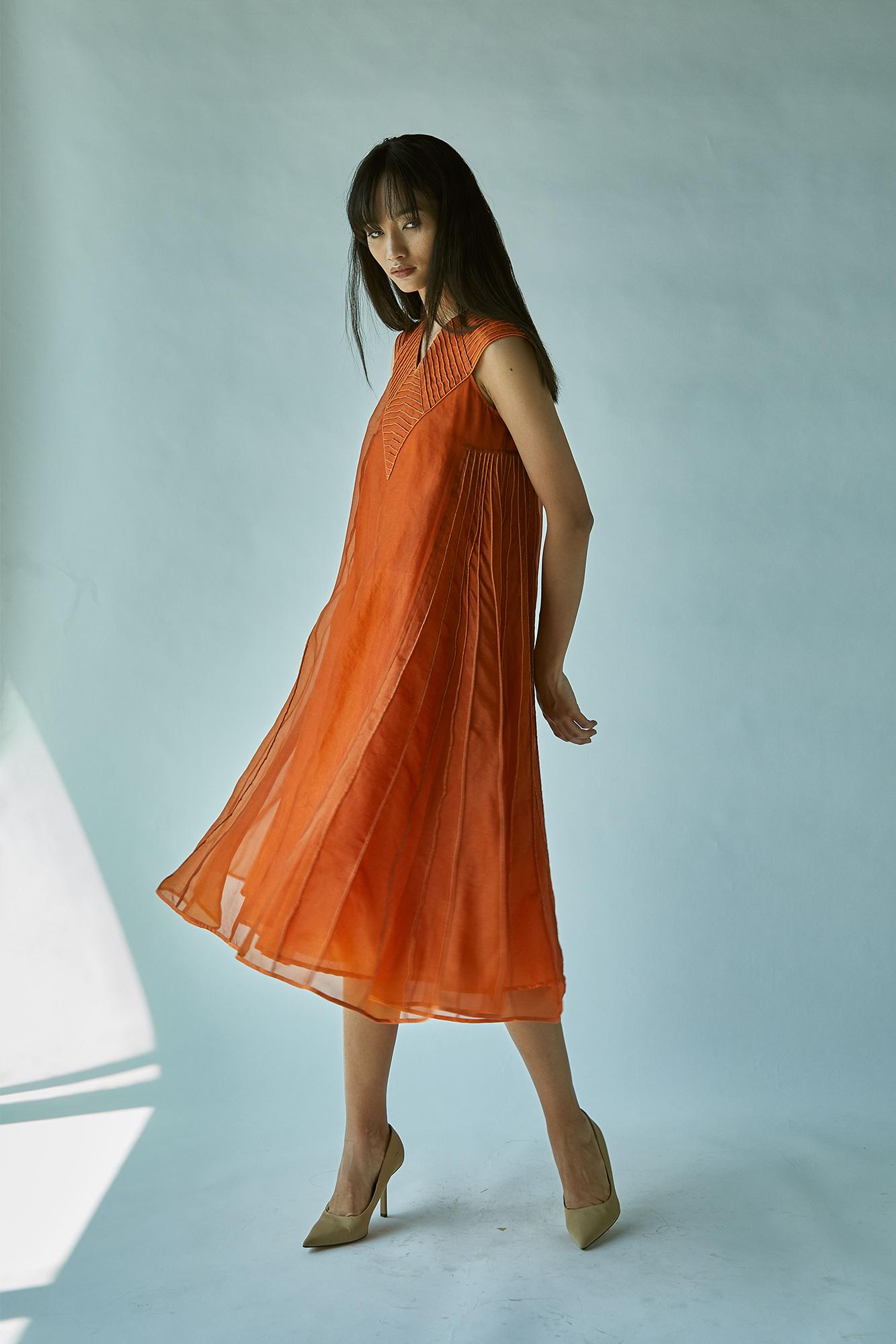 SILK ORGANZA RUST DRESS