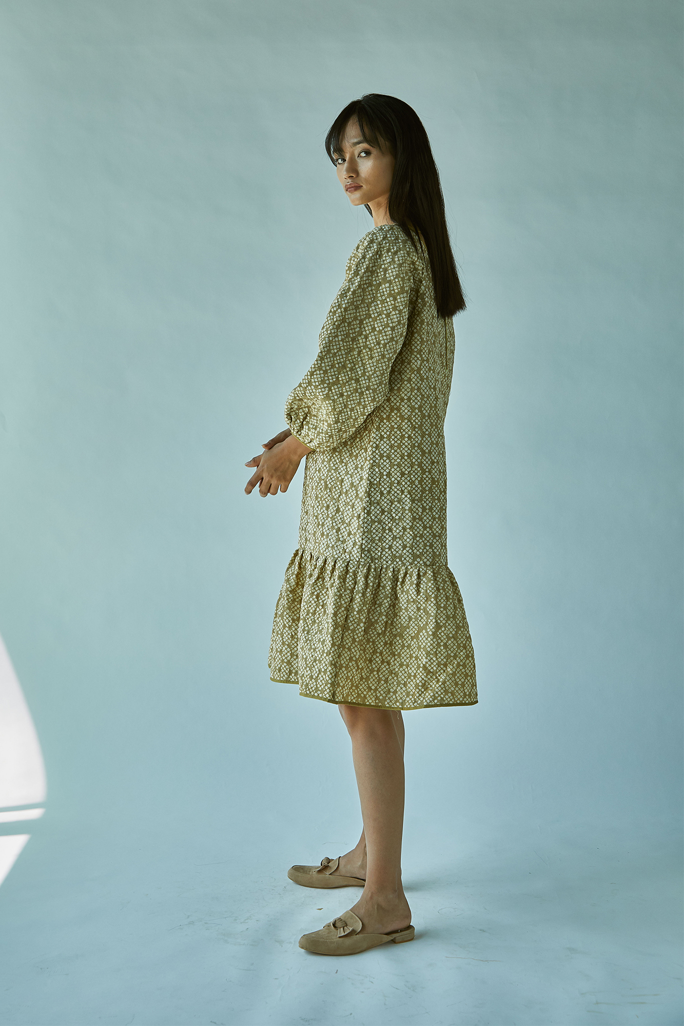 QUILTED BATIK DRESS-GREEN