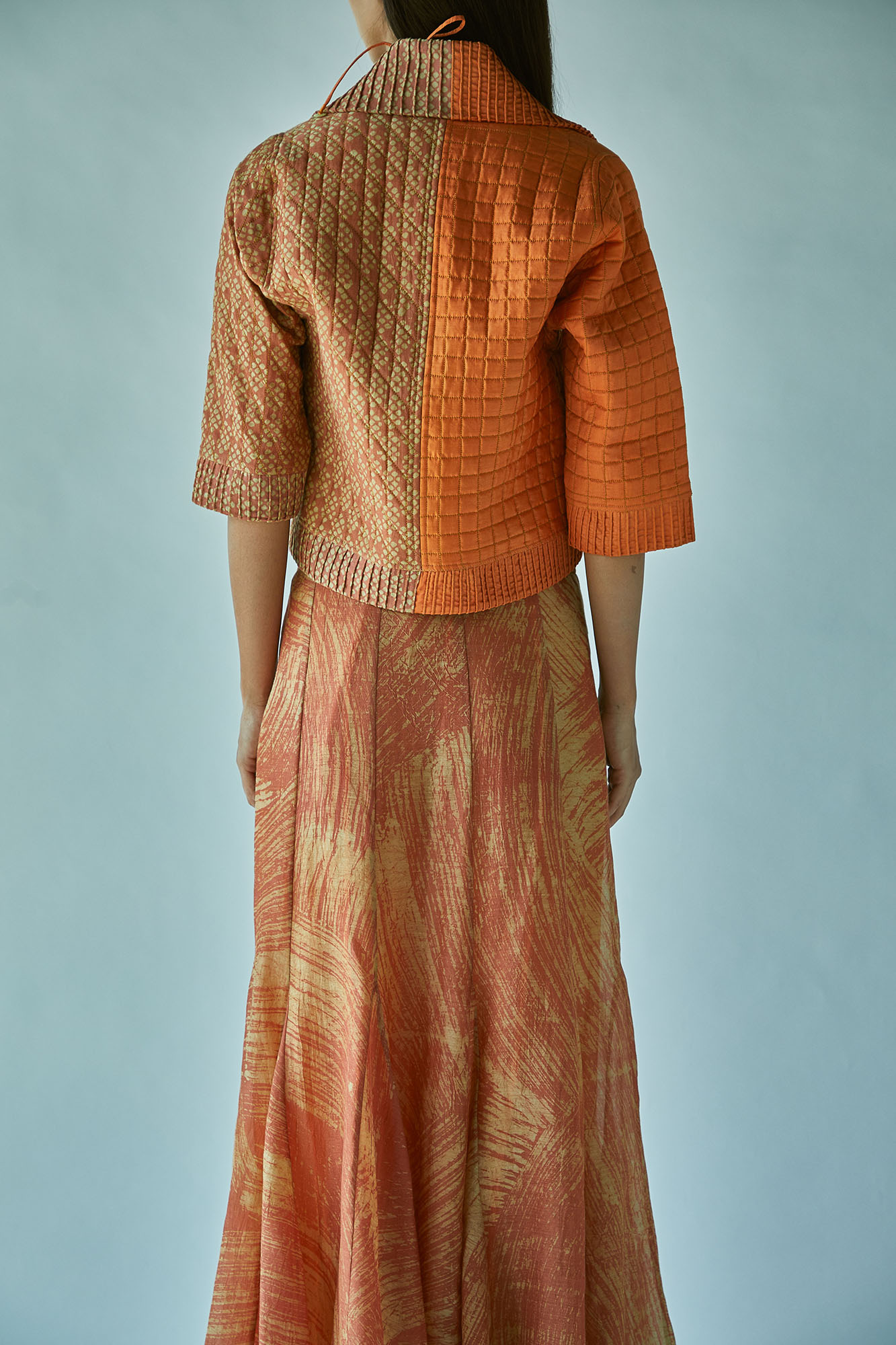QUILTED WRAP JACKET-RUST