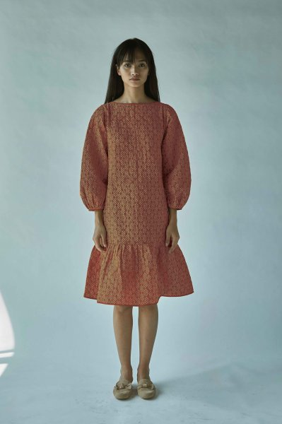QUILTED BATIK DRESS-RUST