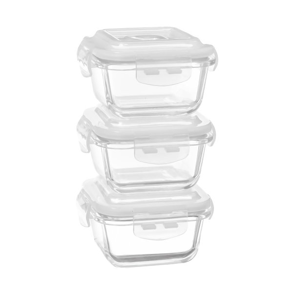 Borosilicate Glass Microwave Safe Square Container, 180 ML, Set of 3