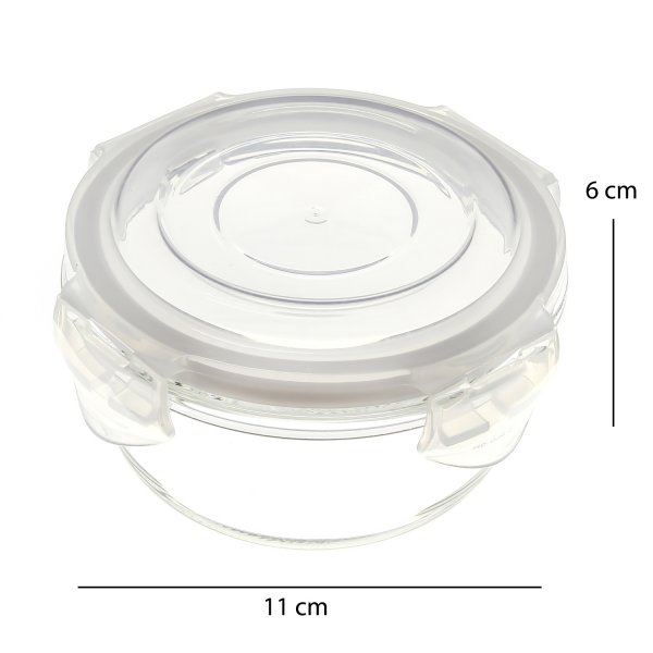 Borosilicate Glass Microwave Safe Round Container, 240 ML, Set of 3