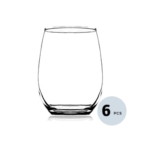 Clear Glass Juice Tumbler - 320 ML, Set of 6