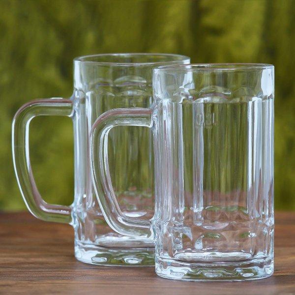 Clear Glass Mini Chilled Beer Mug 350 ml - Set of 2
