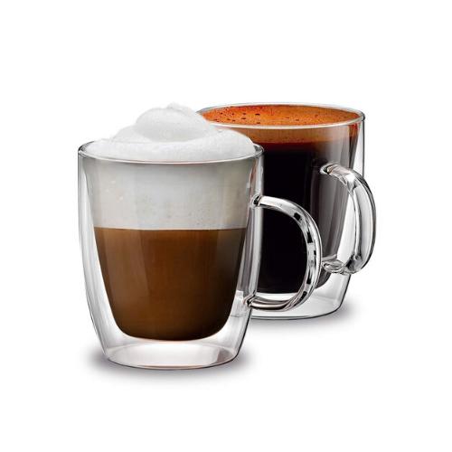 Double Wall Crystal Glass Tea Cup Mug- Set of 2, 170 ML