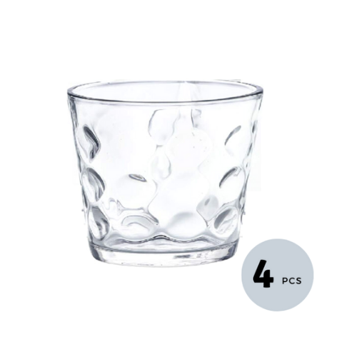 Clear Glass Bubble Juice Glass - 300ml, Set of 4