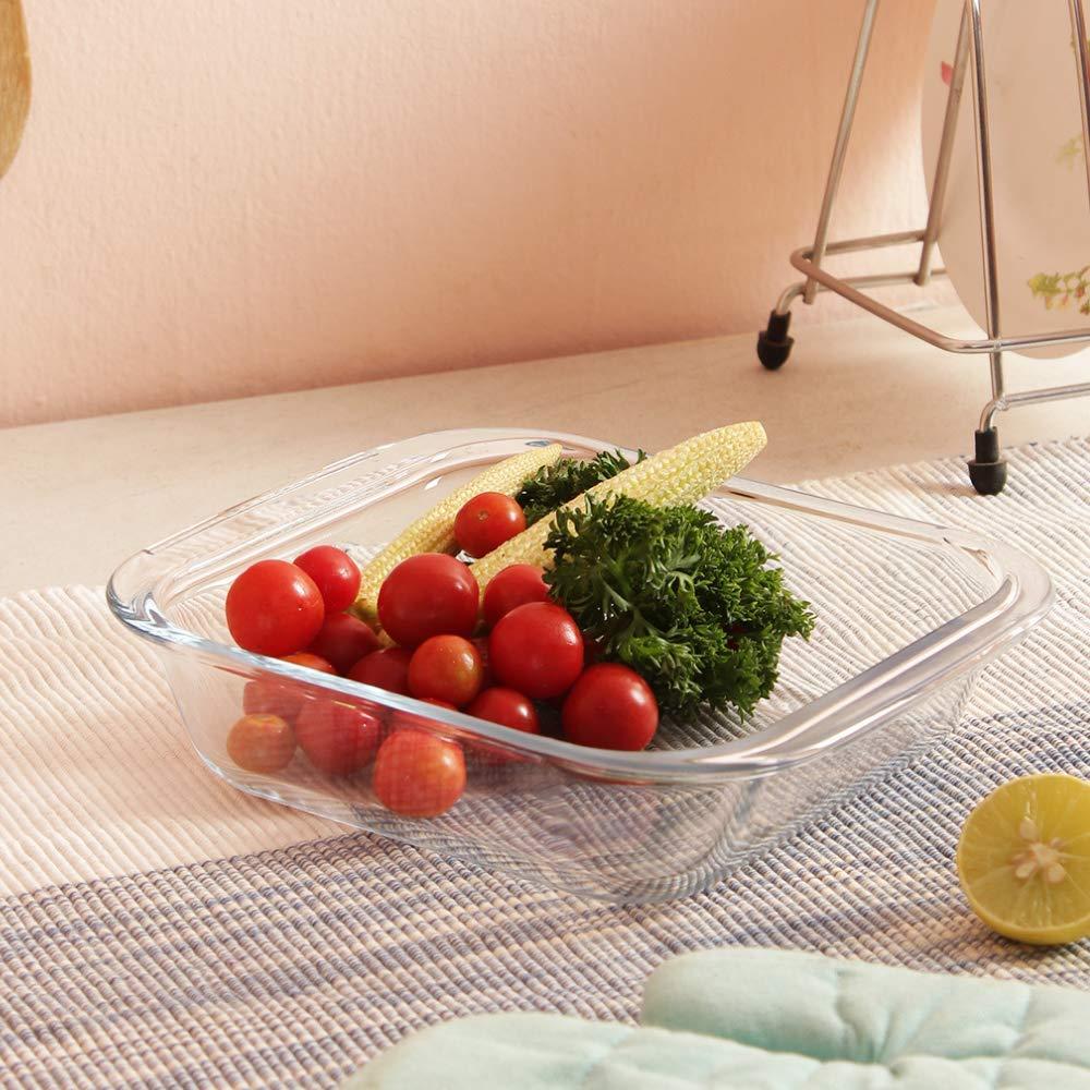 Borosilicate Glass Microwave Safe; Oven Safe Rectangular and Square Dish 1600 ML_1700 ML; Set of 2, Transparent