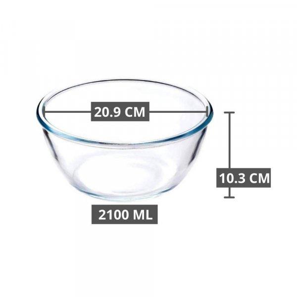 Borosilicate Glass Round Mixing Bowl 1050 ML_1650 ML_2100 ML_2650 ML, Set of 4