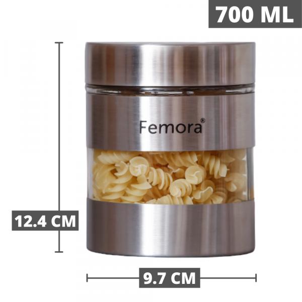 Clear Glass Steel Metallic Jars for Kitchen Storage, 700 ML