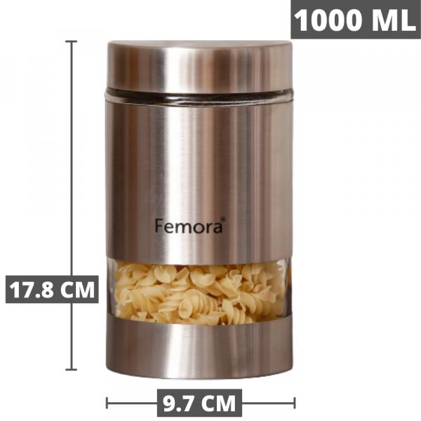 Clear Glass Steel Metallic Jars for Kitchen Storage, 1000 ML
