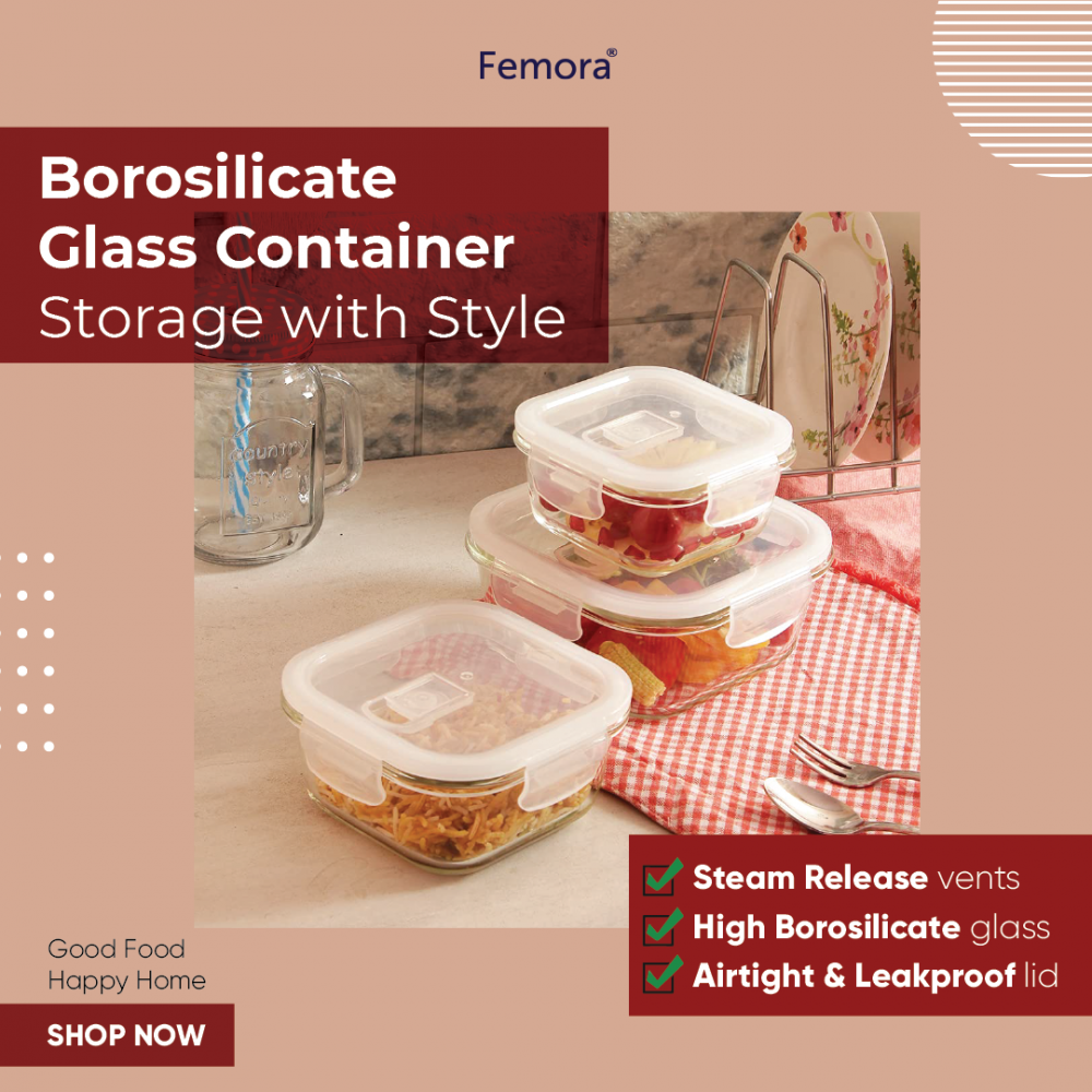Borosilicate Glass Square Container with Air Vent Lid, 300ml, 500ml, 800ml, Set of 3