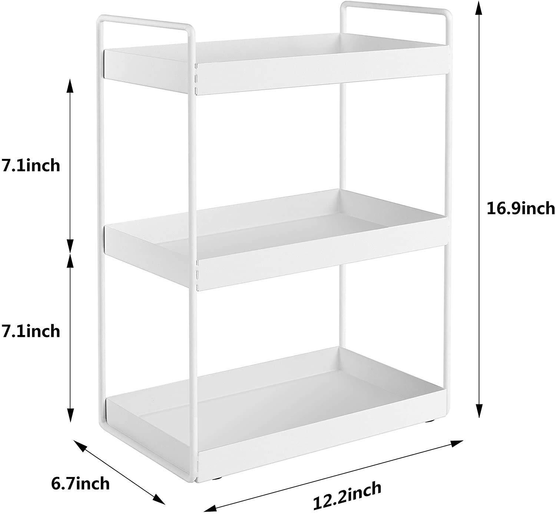 Kitchen Racks Metal Spice Racks for Kitchen Storage, 3 Tier, White