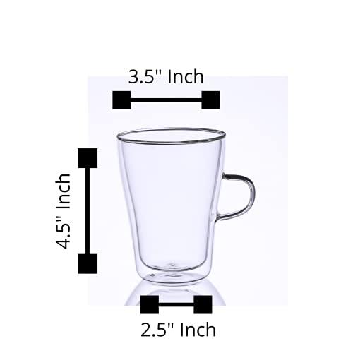 Borosilicate Glass Double Wall Modern Tea Cup-350 ML, Set of 4 pcs