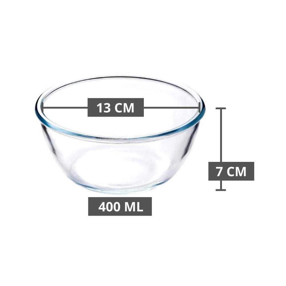 Borosilicate Glass Round Mixing Bowl 400ml, 1050ml, 1650ml, 2100ml, Set of 4